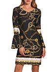 Gold Chain Print Lace Up Dress Photo