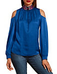 Jeweled Cold Shoulder Charm Top Photo
