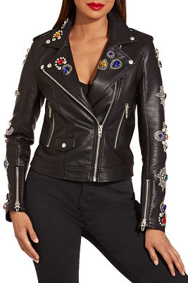 Jeweled embellished vegan leather jacket