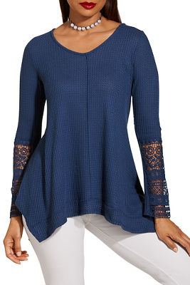 Lace detail v neck thermal top