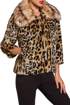 Leopard embellished faux fur jacket