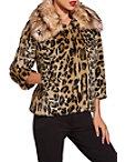 Leopard Embellished Faux Fur Jacket Photo