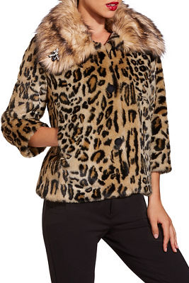 Leopard embellished faux fur jacket