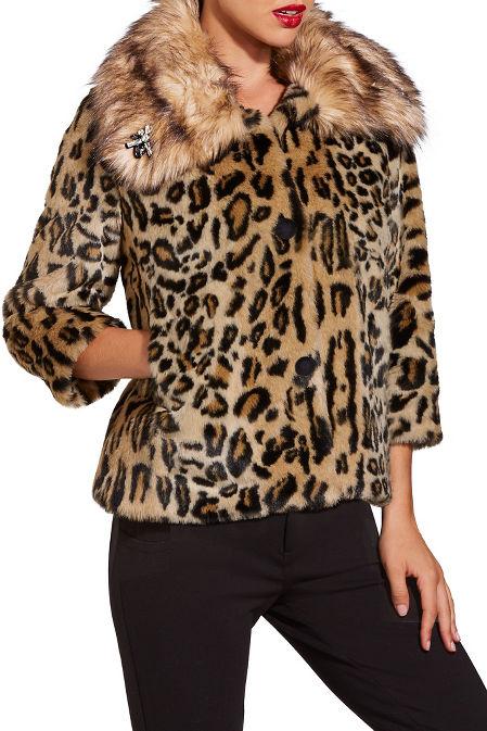 Leopard embellished faux fur jacket image