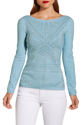 Long sleeve embellished sweater
