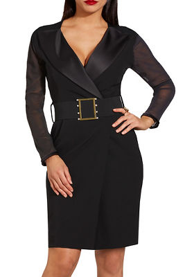 Long sleeve mesh belted dress