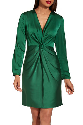 Long sleeve twist front dress