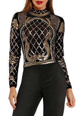 Mock neck allover sequin top