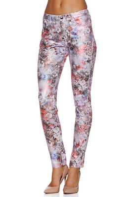 Metallic floral ankle jean