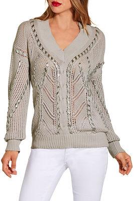 Metallic stitch detail sweater