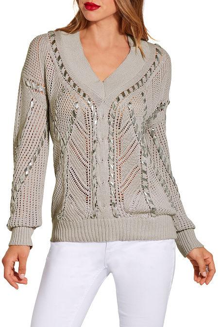 Metallic stitch detail sweater image