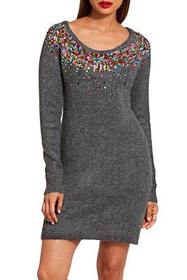 Multisequin sweater dress