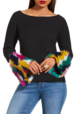 multicolor faux fur cuff sweater