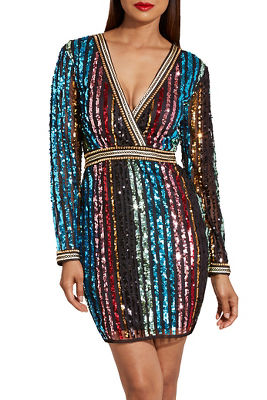 Multistripe sequin dress