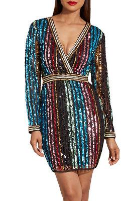 Multistripe sequin dress