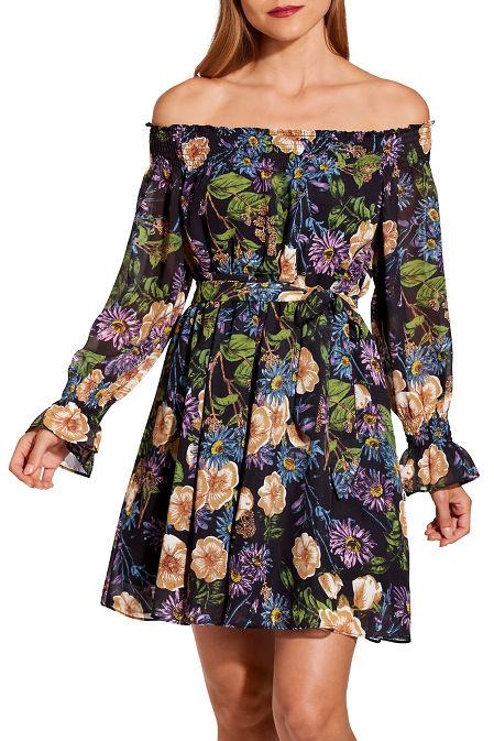 Off the shoulder floral tie front dress image