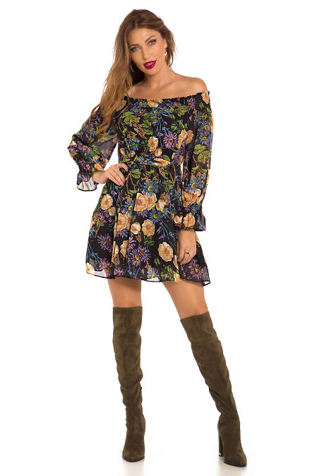 Off the shoulder floral tie front dress image