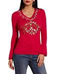 Peace Embellished V Neck Sweater Photo