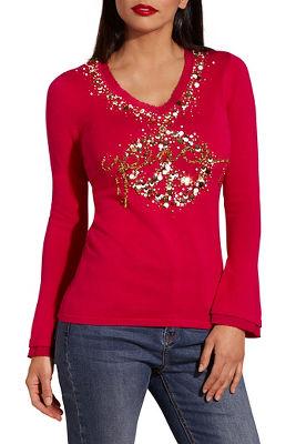 Peace embellished v neck sweater