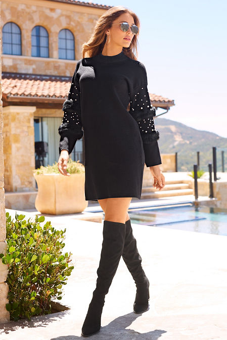 Pearl and faux fur sweater dress image