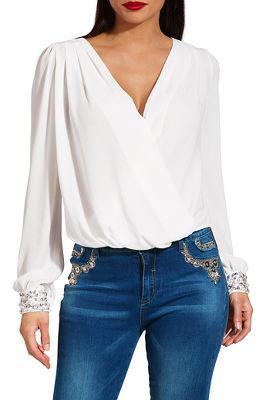 pearl cuff surplice blouse