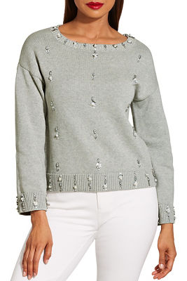 Pearl embellished long sleeve sweater