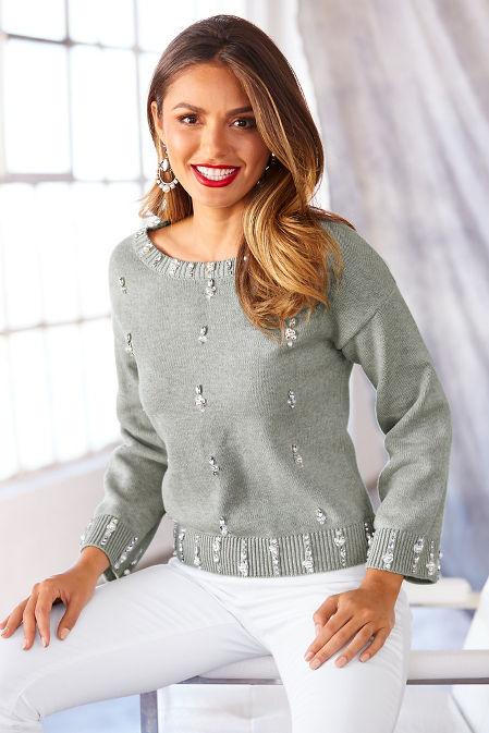 Pearl embellished long sleeve sweater image
