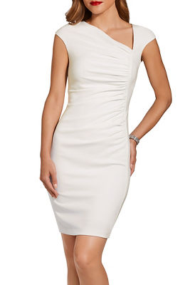 Ruched angled v neck dress