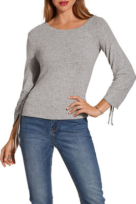 Display product reviews for So soft ruched sleeve top