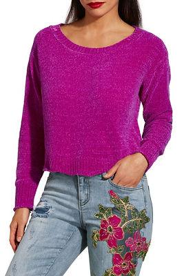 Scalloped hem chenille sweater
