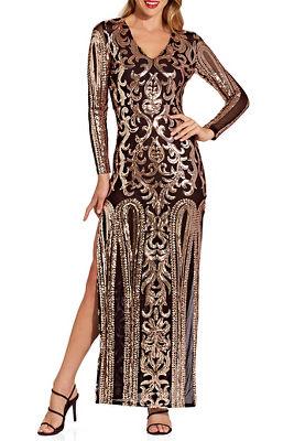 Sequin illusion maxi dress
