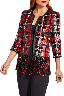 Sequin plaid fringe jacket
