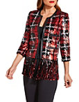 Sequin Plaid Fringe Jacket Photo