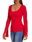 Square Neck Ribbed Slit Sleeve Top Photo