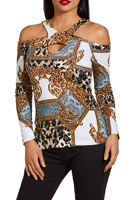 So Sexy ™ cold shoulder cutout keyhole print top