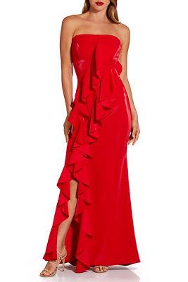 Strapless ruffle maxi dress