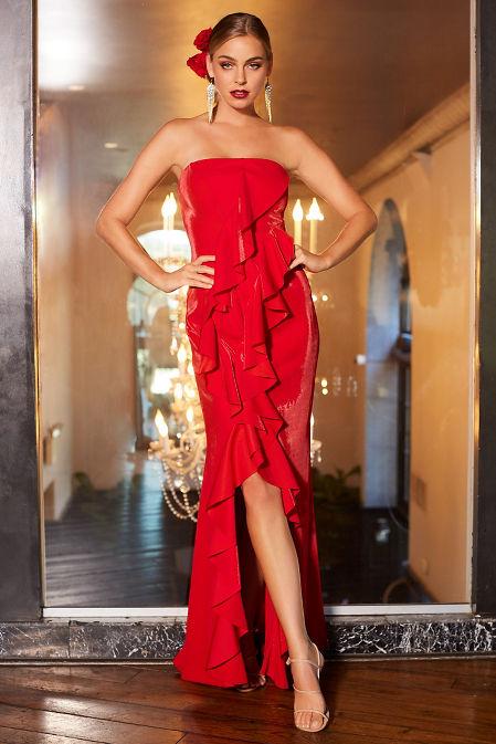 Strapless ruffle maxi dress image