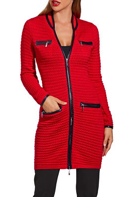 Textured piped sweater coat