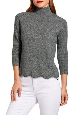 Turtleneck scalloped hem sweater