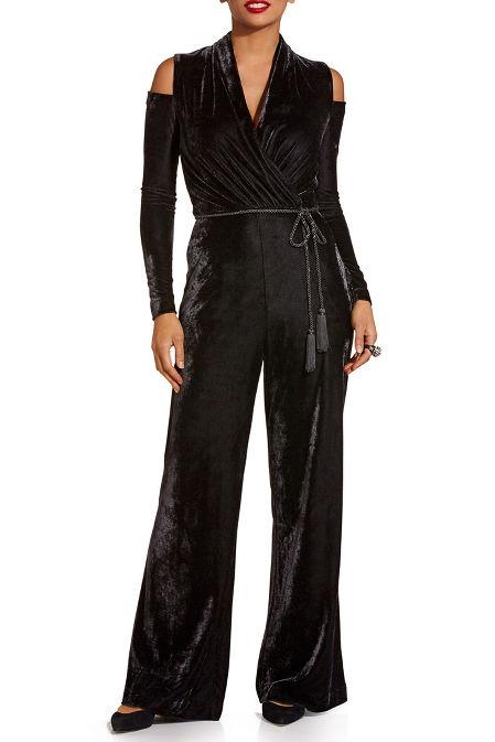 Velvet cold shoulder jumpsuit image