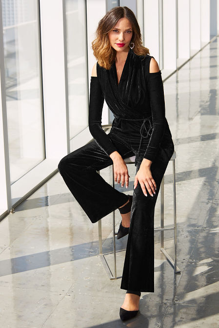 Velvet cold shoulder jumpsuit image
