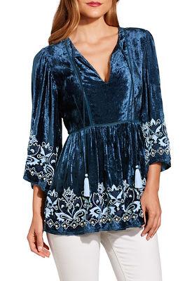 Velvet embellished tunic