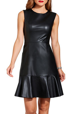 Vegan leather ruffle hem dress