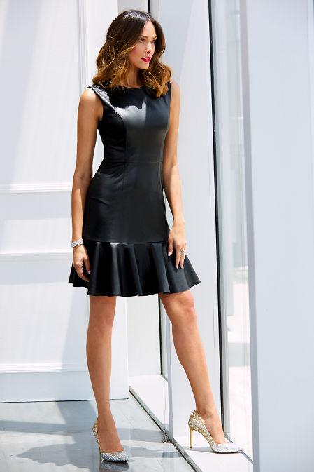Vegan leather ruffle hem dress image