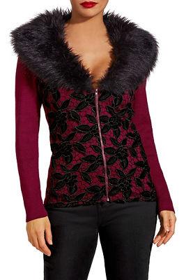 Velvet lace faux fur zip cardigan