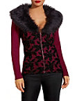 Velvet Lace Faux Fur Zip Cardigan Photo