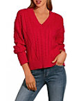 V Neck Cabled Slouchy Sweater Photo