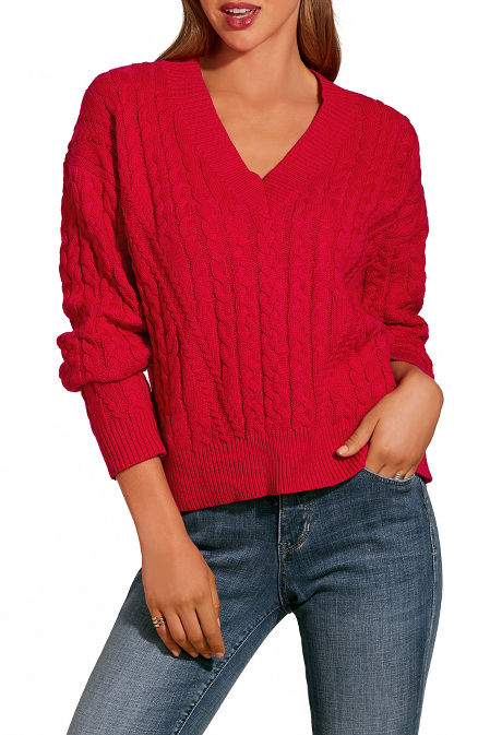 V neck cabled slouchy sweater image