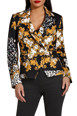 Chain print double breasted jacket
