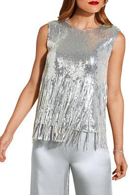 Sequin fringe sleeveless top